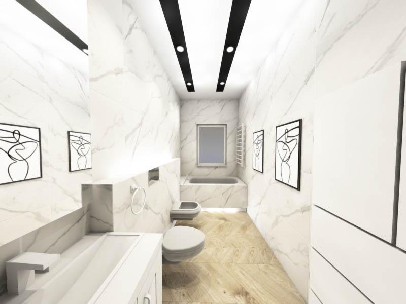 długa wąska łazienka z oknem