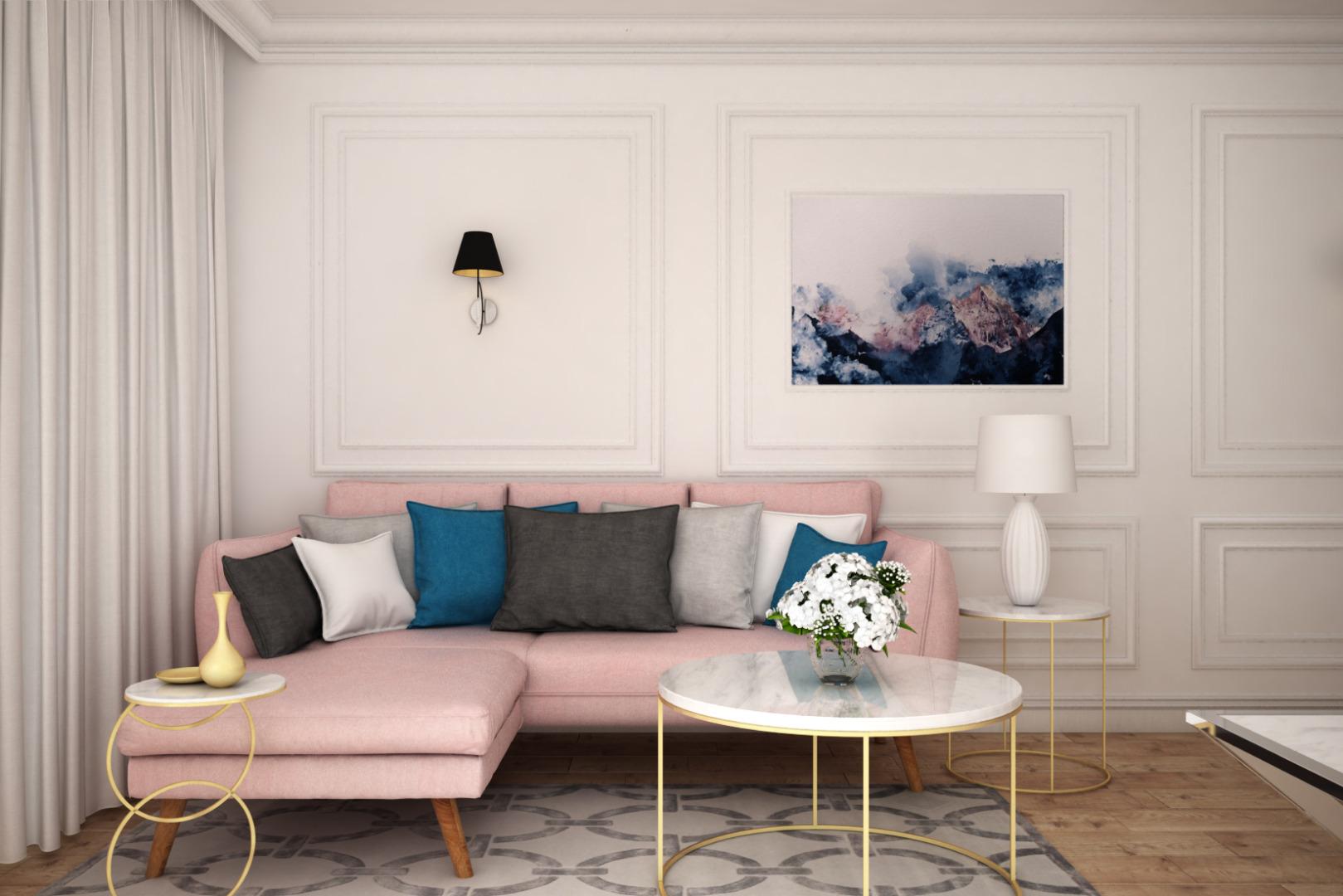 Sztukateria na ścianie w nowoczesnym salonie